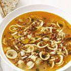 حساء العدس مع الپاستا