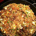 أرز مقلي مع اللحم او الدجاج