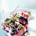 طبق الغنم التركي مع سلطة اللبن