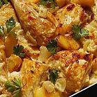 دجاج بالفرن، مع البطاطا والكزبرة