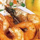القريدس مع الكاري والأرز