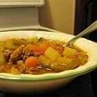 حساء الخضار مع لحمة العجل